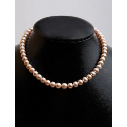 FRESH WATER PEARL PEACH ROUND BEADS 7,5-8MM STRING 40cm