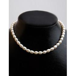 FRESH WATER PEARL WHITE RICE BEADS 6X8mm STRING 40cm