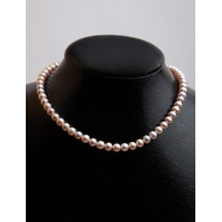 FRESH WATER PEARL PEACH ROUND BEADS 7 - 7,50mm STRING 40cm